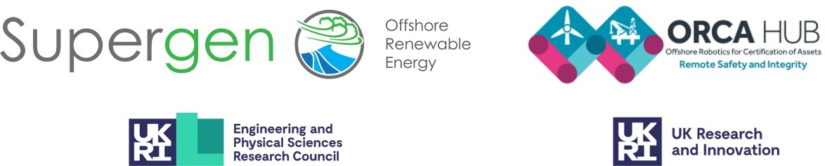 Supergen ORE HUb and ORCA logos with EPSRC and UKRI logo